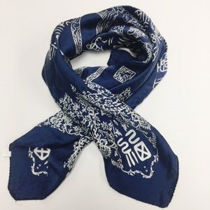 Accessories - 100% Silk Navy Blue Chinese Scarf